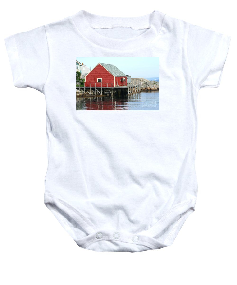 Peggy's Cove Baby Onesie featuring the photograph Fishermans House On Peggys Cove by Thomas Marchessault