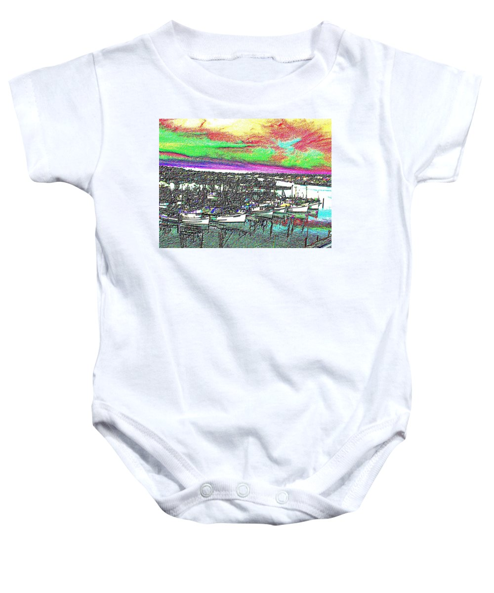 Seattle Baby Onesie featuring the photograph Fishermans Terminal 2 by Tim Allen