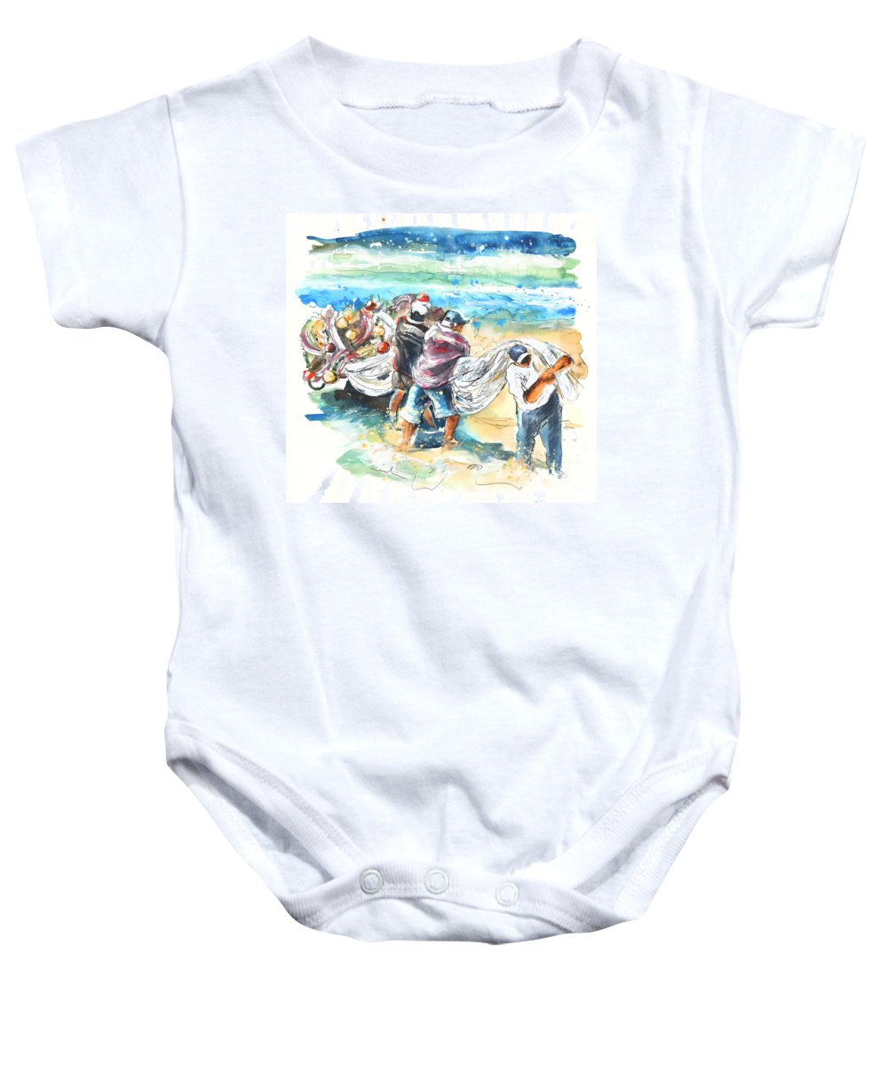 Portugal Baby Onesie featuring the painting Fishermen In Praia De Mira by Miki De Goodaboom