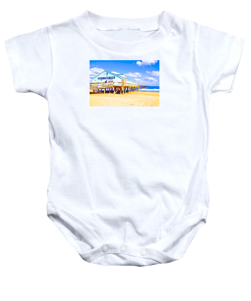 Fishing Pier Baby Onesie featuring the painting Fishing Pier 8 by Jeelan Clark