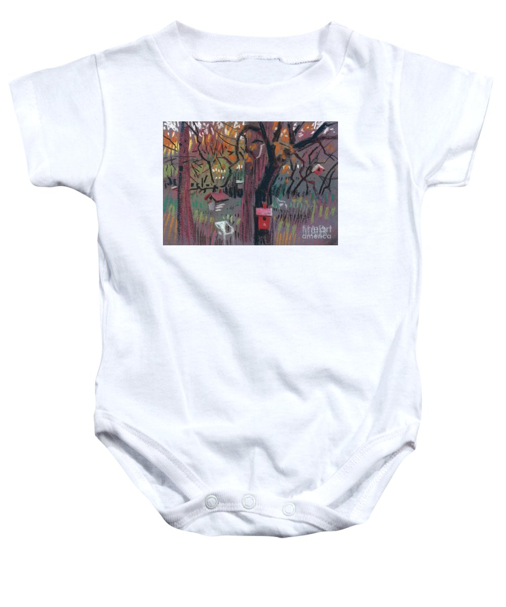 Birdhouse Baby Onesie featuring the drawing Five Birdhouses by Donald Maier