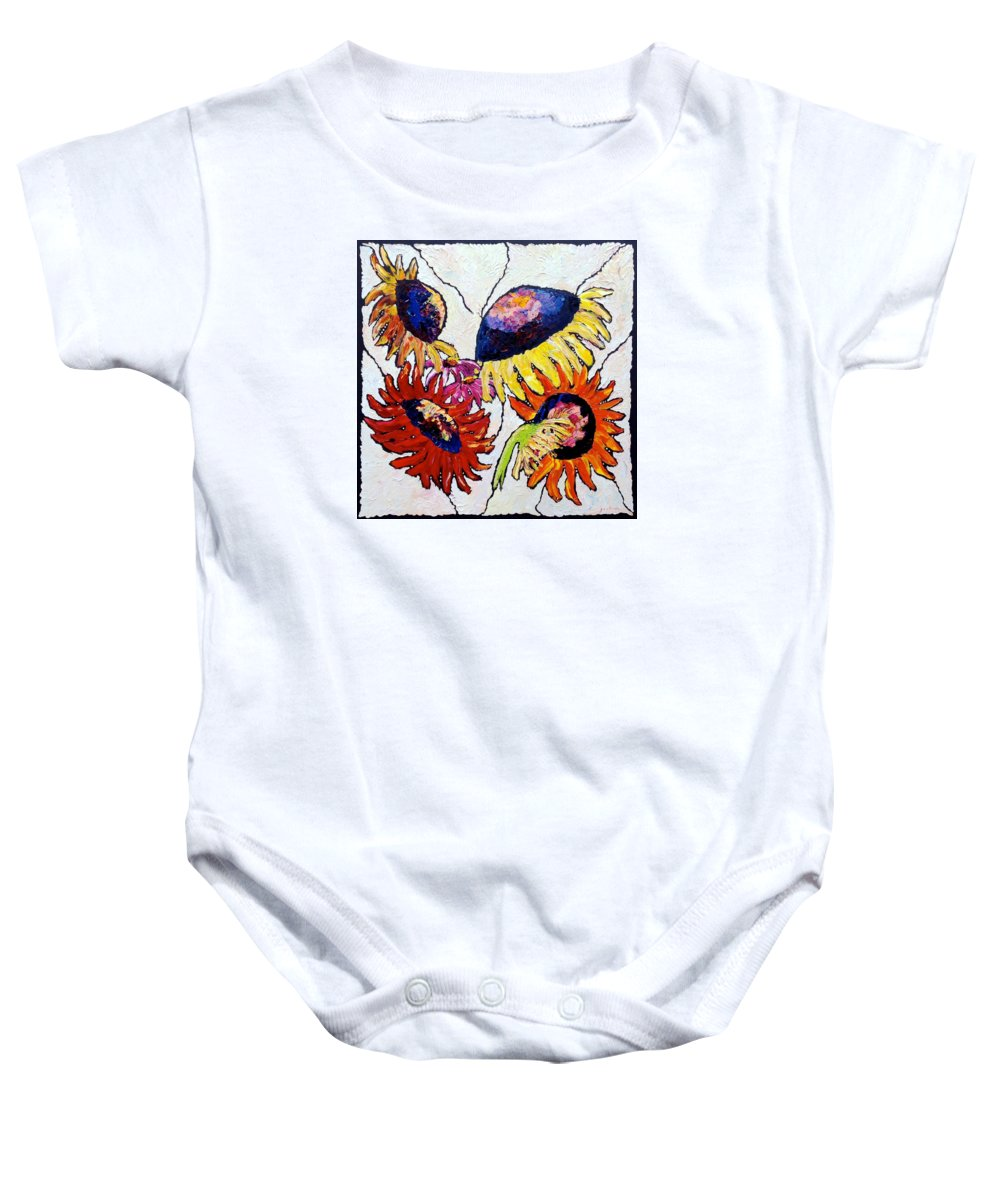 Sunflowers Baby Onesie featuring the painting Five In Hand by Carrie Jacobson
