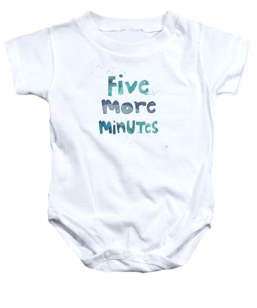 Sleep Baby Onesie featuring the painting Five More Minutes by Linda Woods