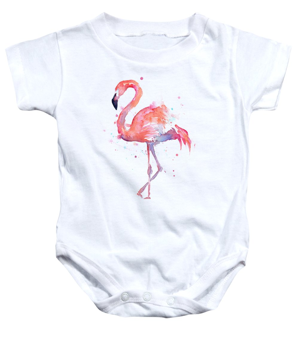 Bird Baby Onesie featuring the painting Flamingo Watercolor by Olga Shvartsur