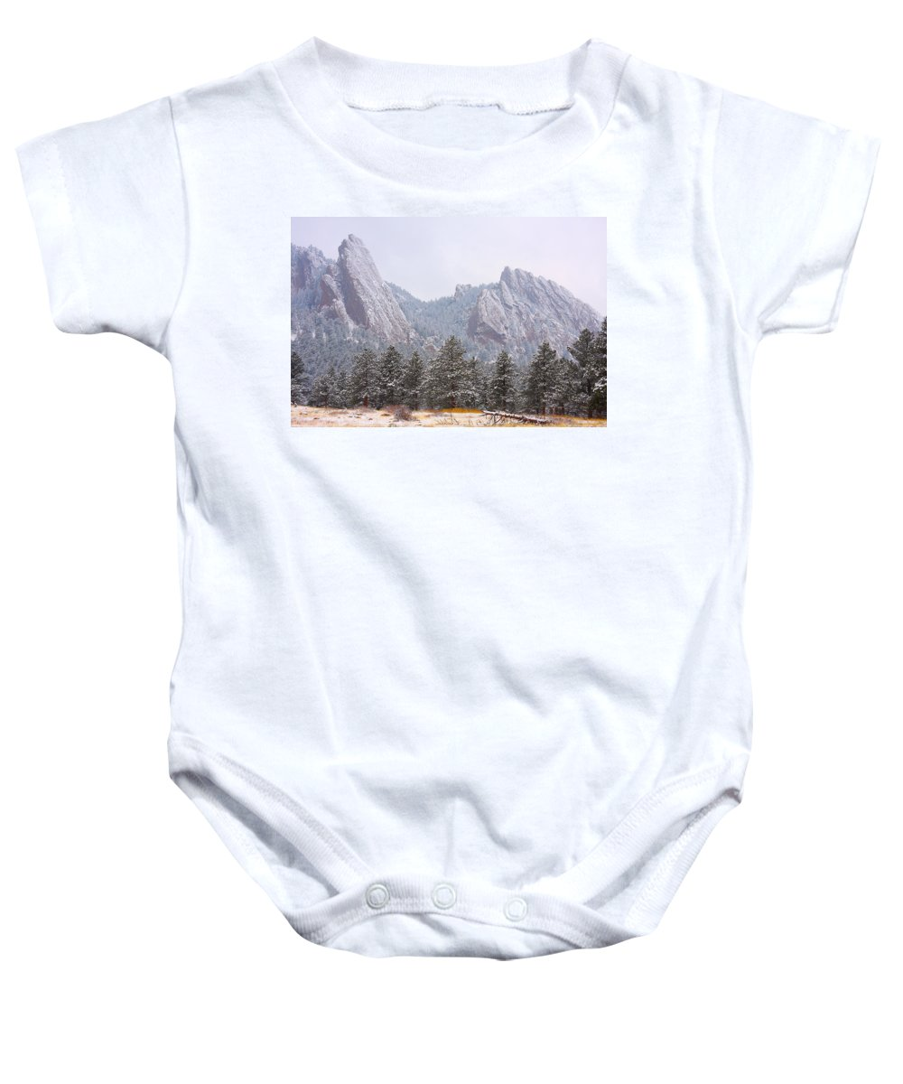 Flatirons Baby Onesie featuring the photograph Flatirons From The South Boulder Colorado by James BO Insogna
