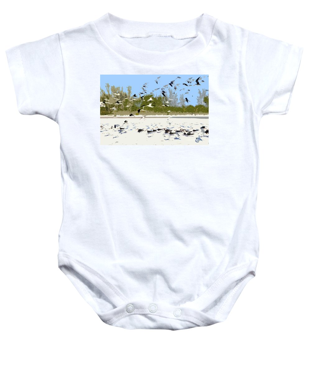 Seagulls Baby Onesie featuring the painting Flock Of Seagulls by David Lee Thompson
