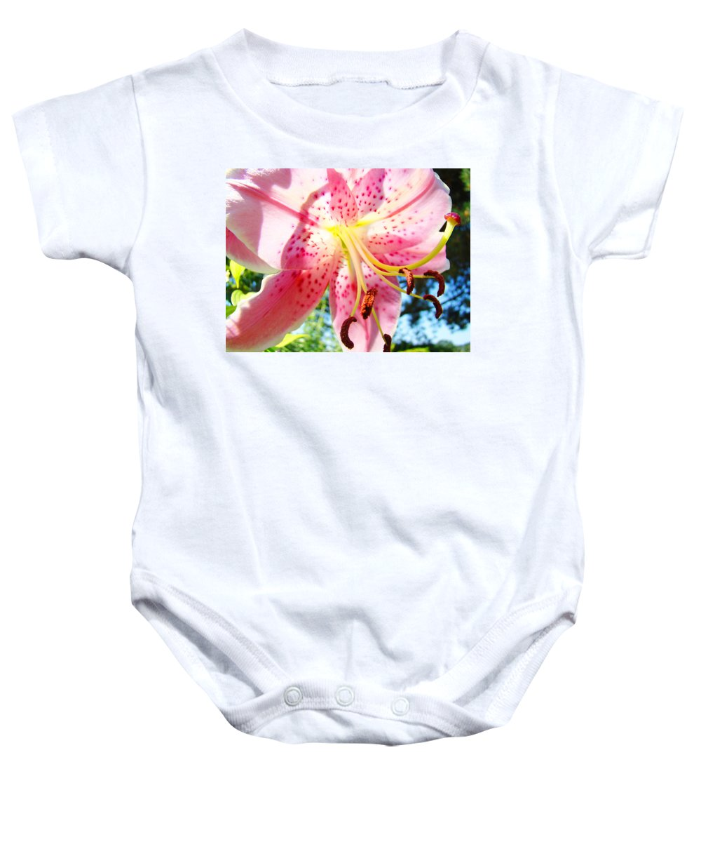 Lilies Baby Onesie featuring the photograph Floral Art Print Pink Summer Lily Flower Lilies Baslee Troutman by Baslee Troutman