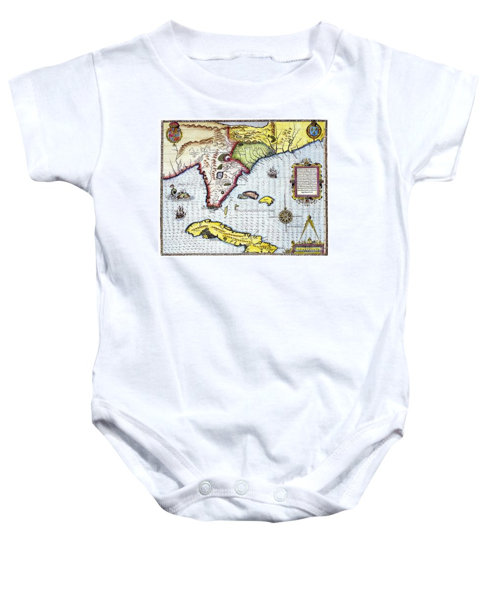 1591 Baby Onesie featuring the photograph Florida: Map, 1591 by Granger