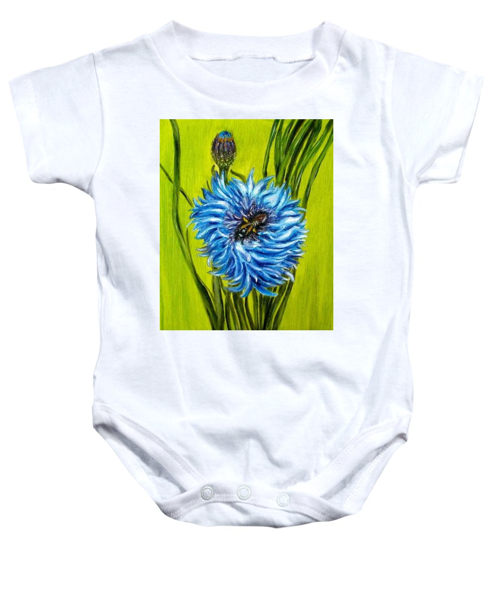 Flower Baby Onesie featuring the painting Flower And Bee Oil Painting by Natalja Picugina