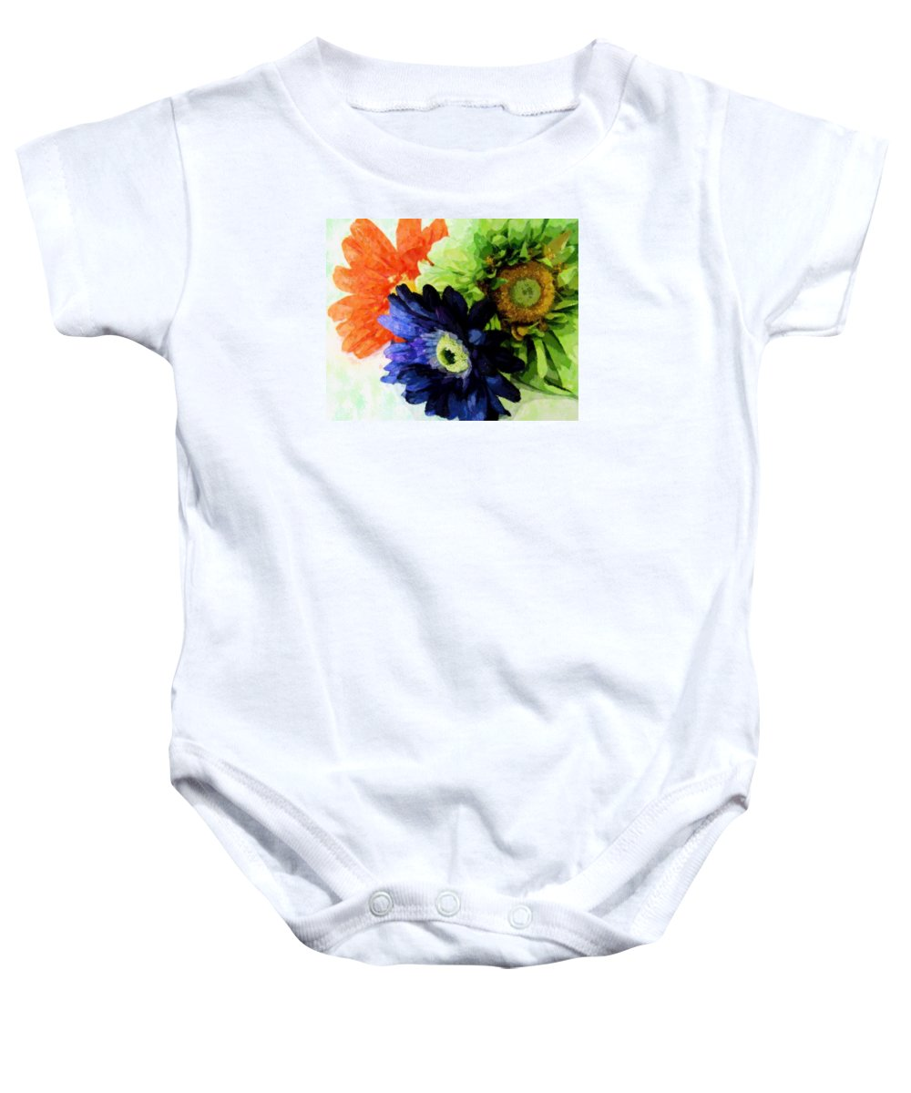 Impressionism Baby Onesie featuring the mixed media Flower X Three by Florene Welebny