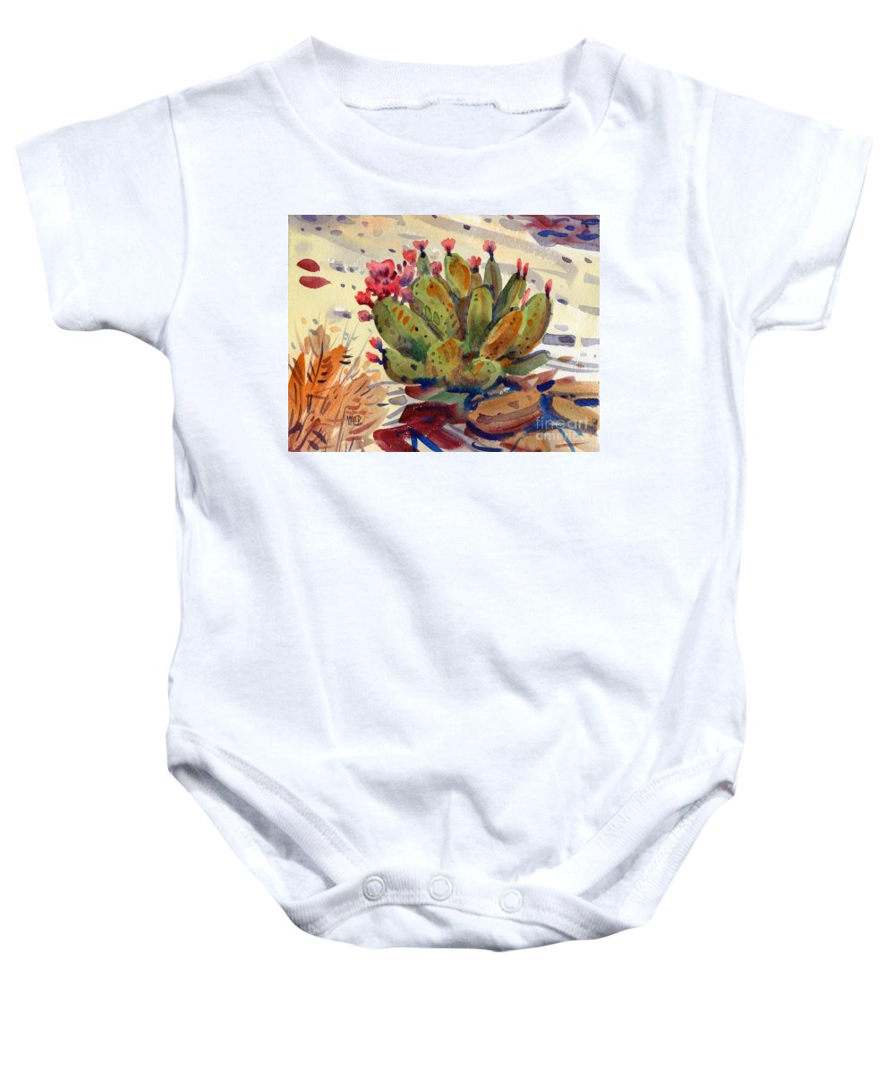 Opuntia Cactus Baby Onesie featuring the painting Flowering Opuntia by Donald Maier