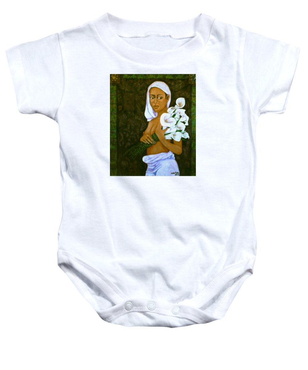 Love Baby Onesie featuring the painting Flowers For An Old Love by Madalena Lobao-Tello