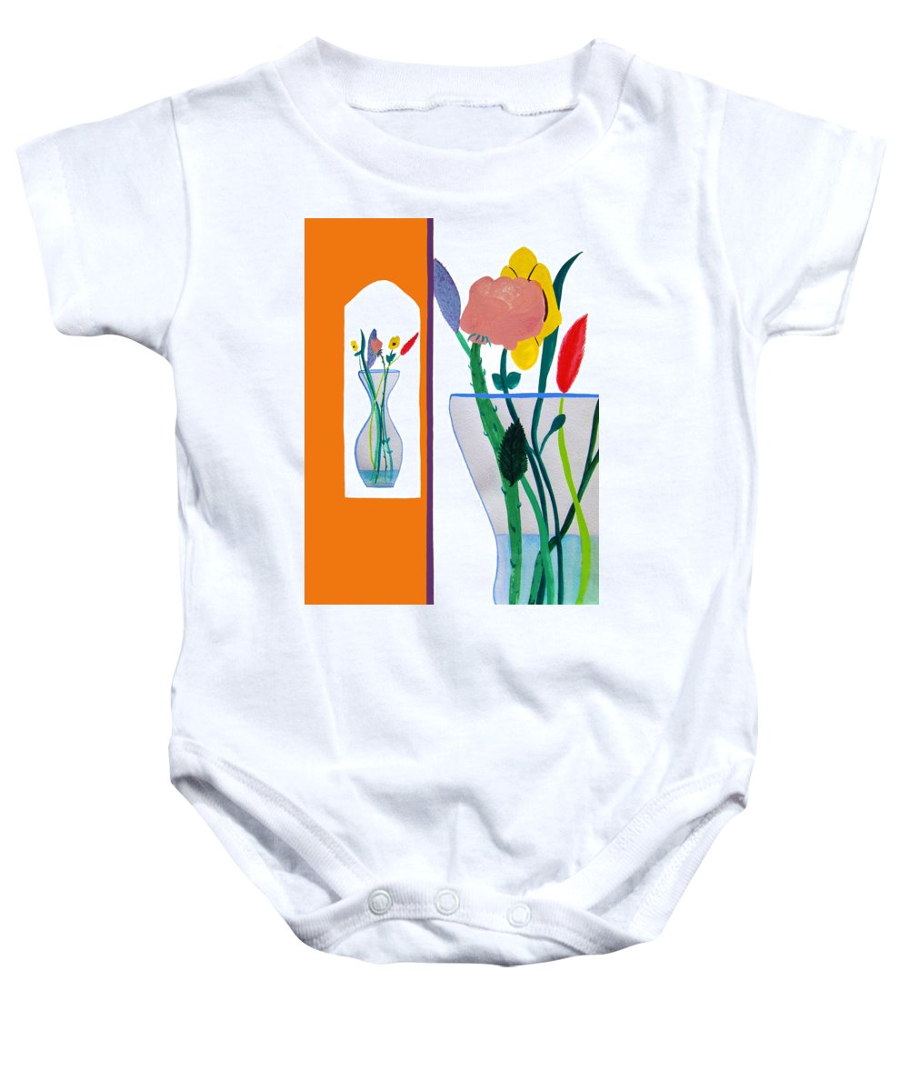 Art Baby Onesie featuring the painting Flowers Small And Big by Lee Serenethos
