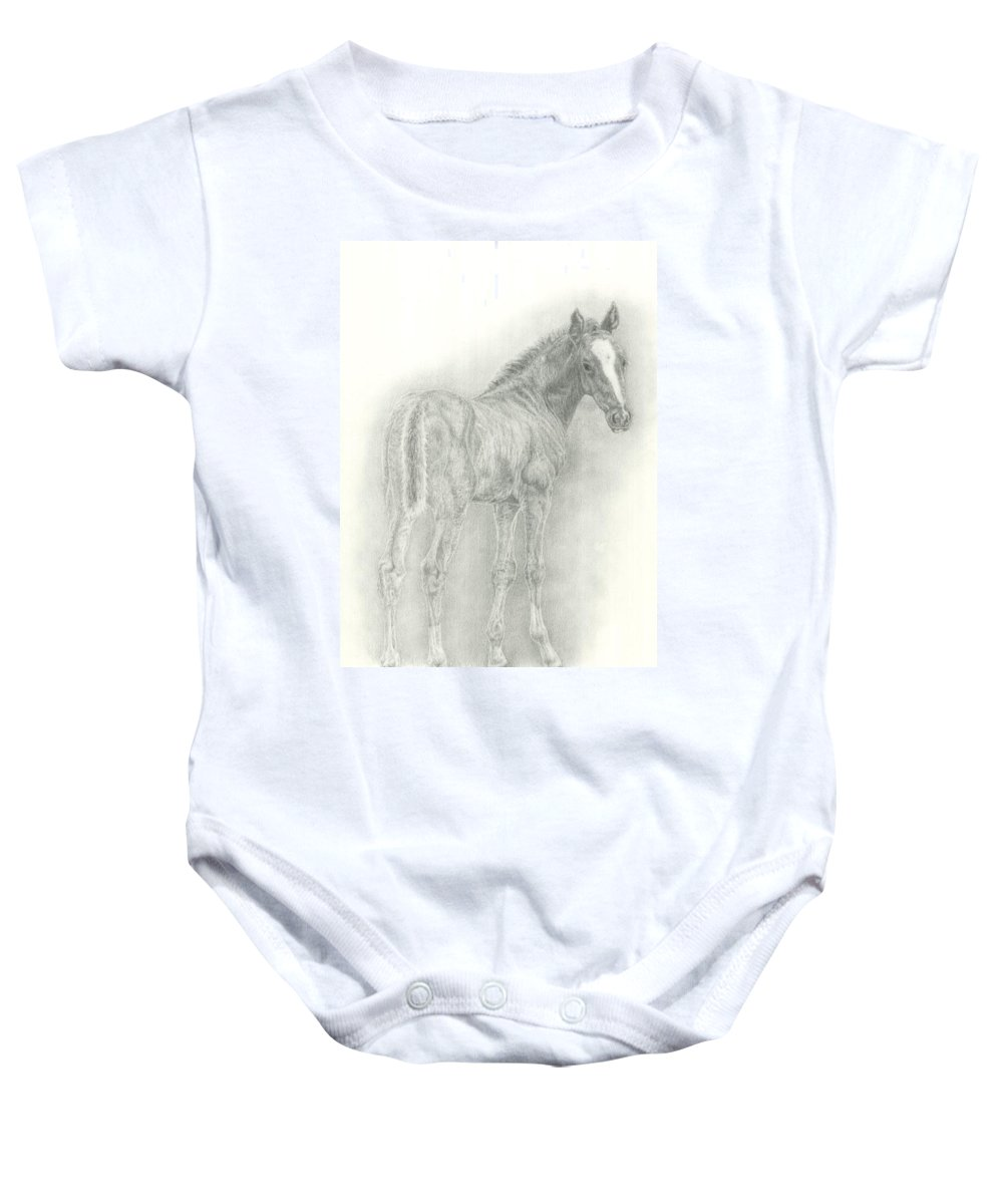 Foal Baby Onesie featuring the drawing Spring Foal by Jennifer Nilsson