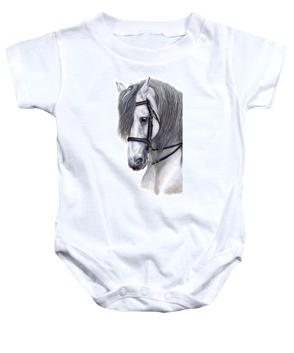 Horse Baby Onesie featuring the drawing Focus by Kristen Wesch