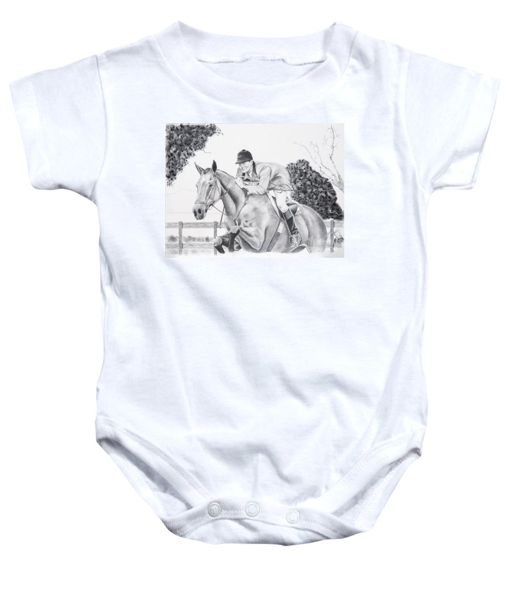 Dressage Baby Onesie featuring the drawing Focused by Joette Snyder
