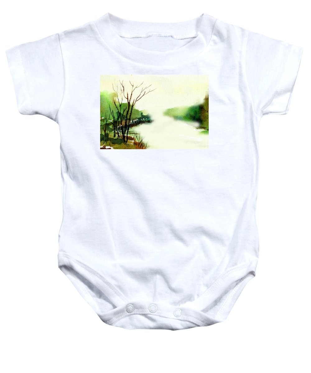 Water Color Baby Onesie featuring the painting Fog1 by Anil Nene