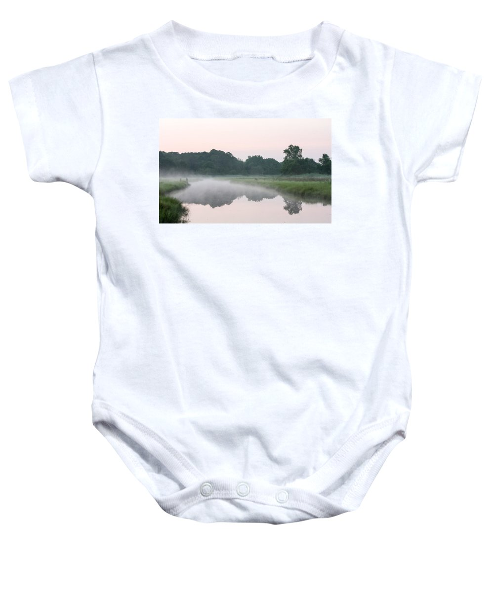Stream Foggy Baby Onesie featuring the photograph Foggy Morning Reflections by Allan Levin