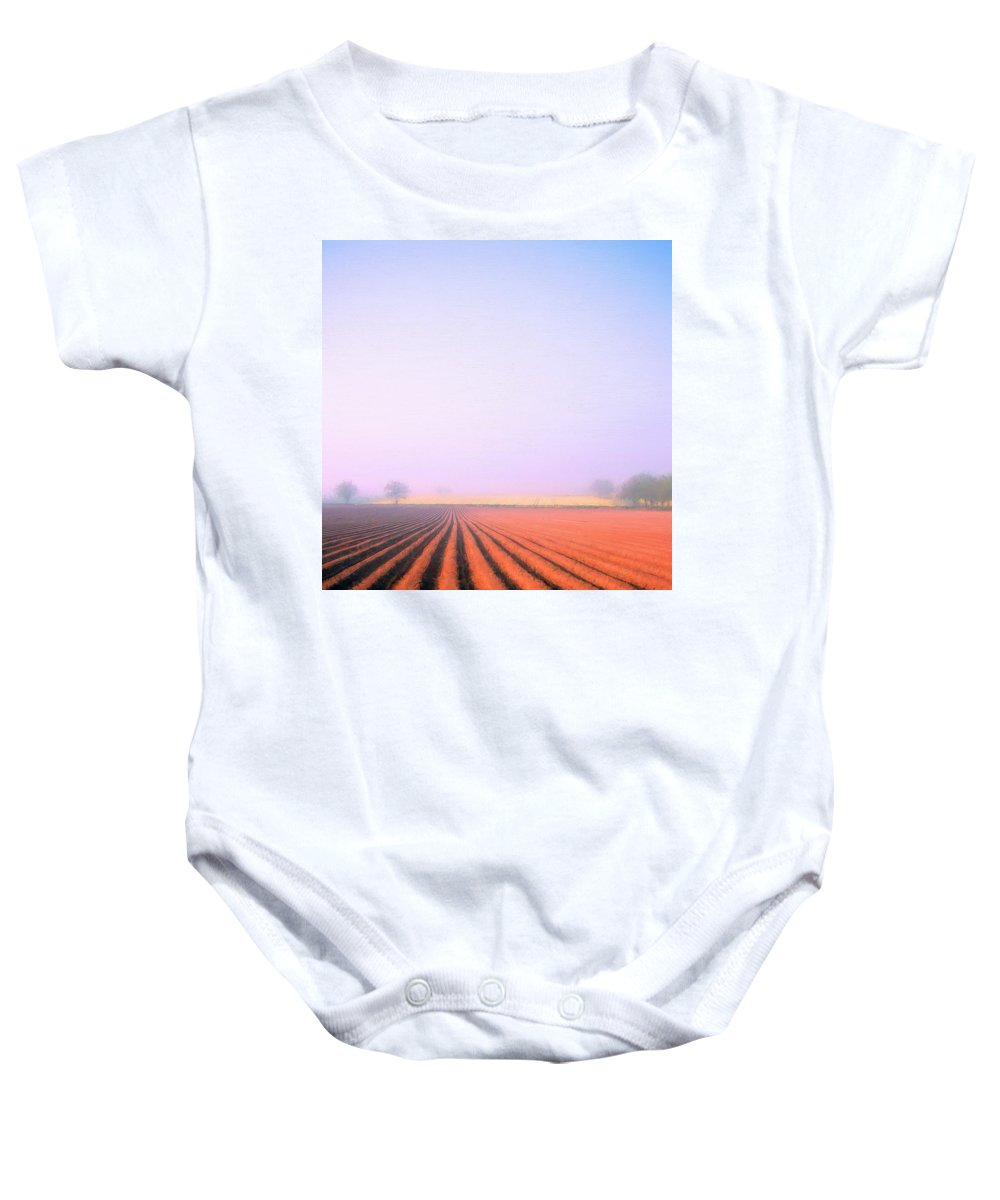 Italy Baby Onesie featuring the painting Foggy Morning Tuscany by Dominic Piperata