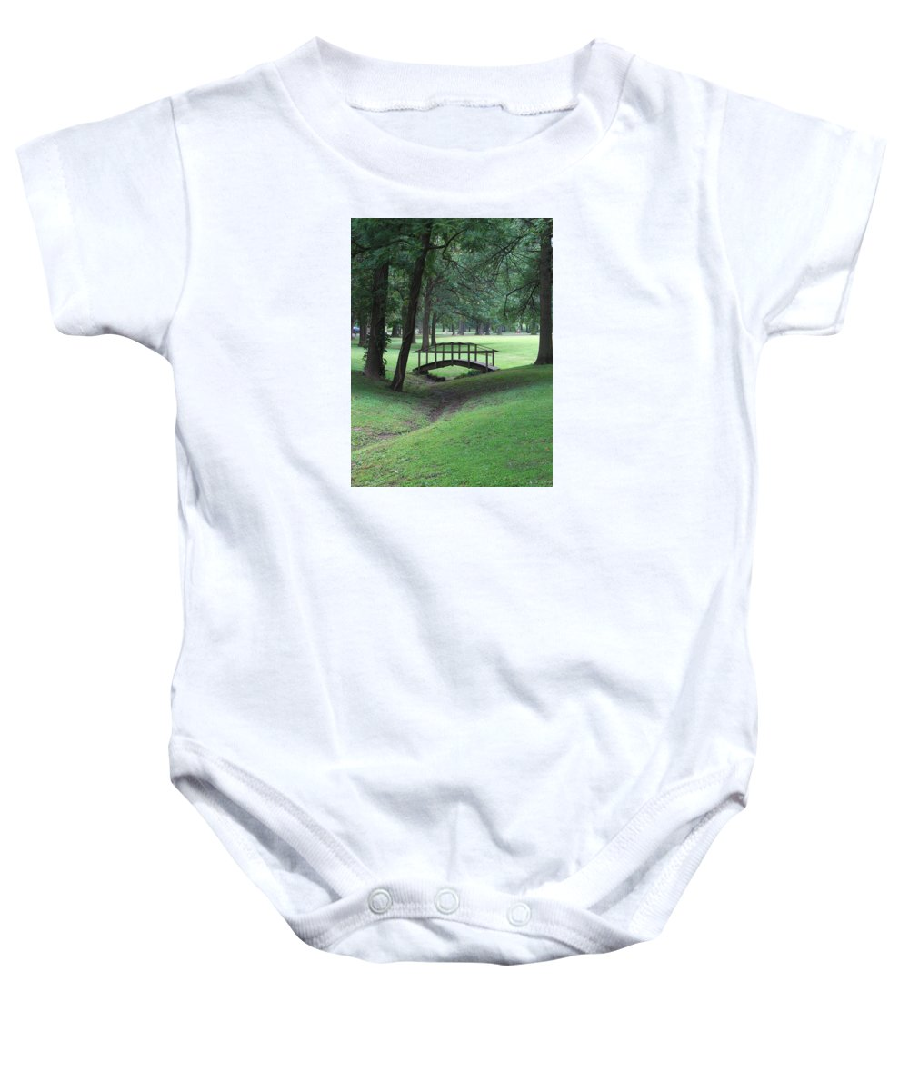 Bridge Baby Onesie featuring the photograph Foot Bridge In The Park by J R Seymour