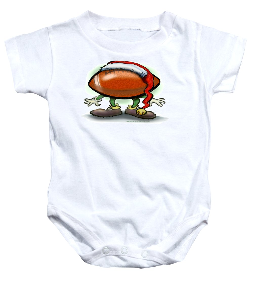 Football Baby Onesie featuring the greeting card Football Christmas by Kevin Middleton