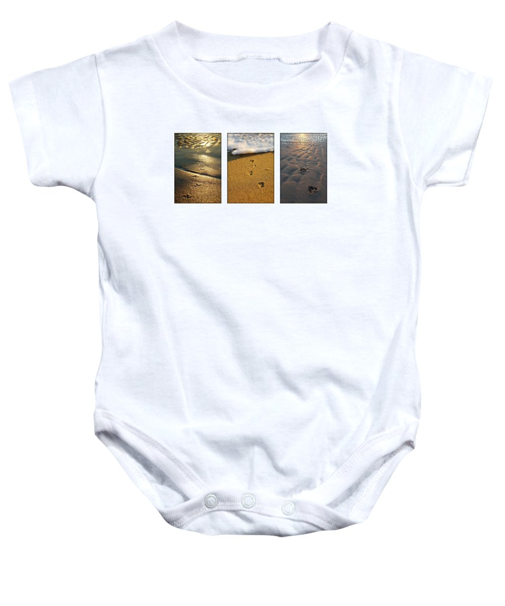 Beach Baby Onesie featuring the photograph Footprints In The Sand by Jill Reger