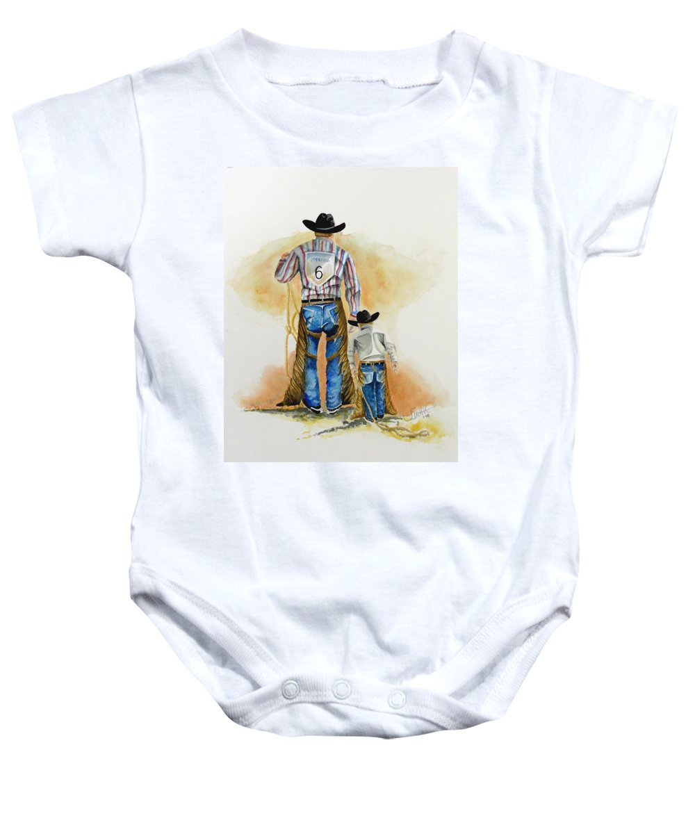 Bull Baby Onesie featuring the painting Footsteps by Jimmy Smith