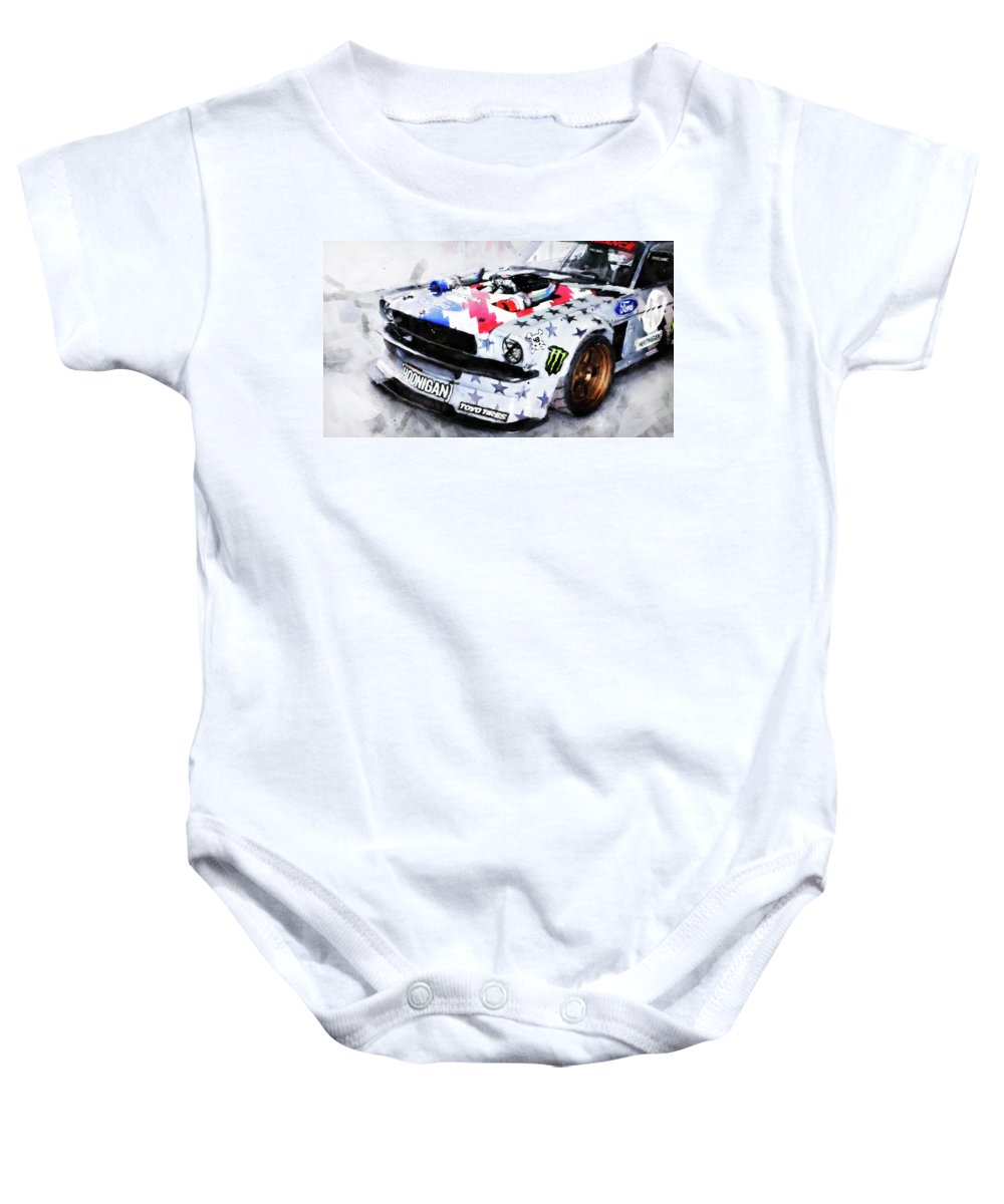 Ford Baby Onesie featuring the painting Ford Mustang Hoonicorn - 04 by Andrea Mazzocchetti