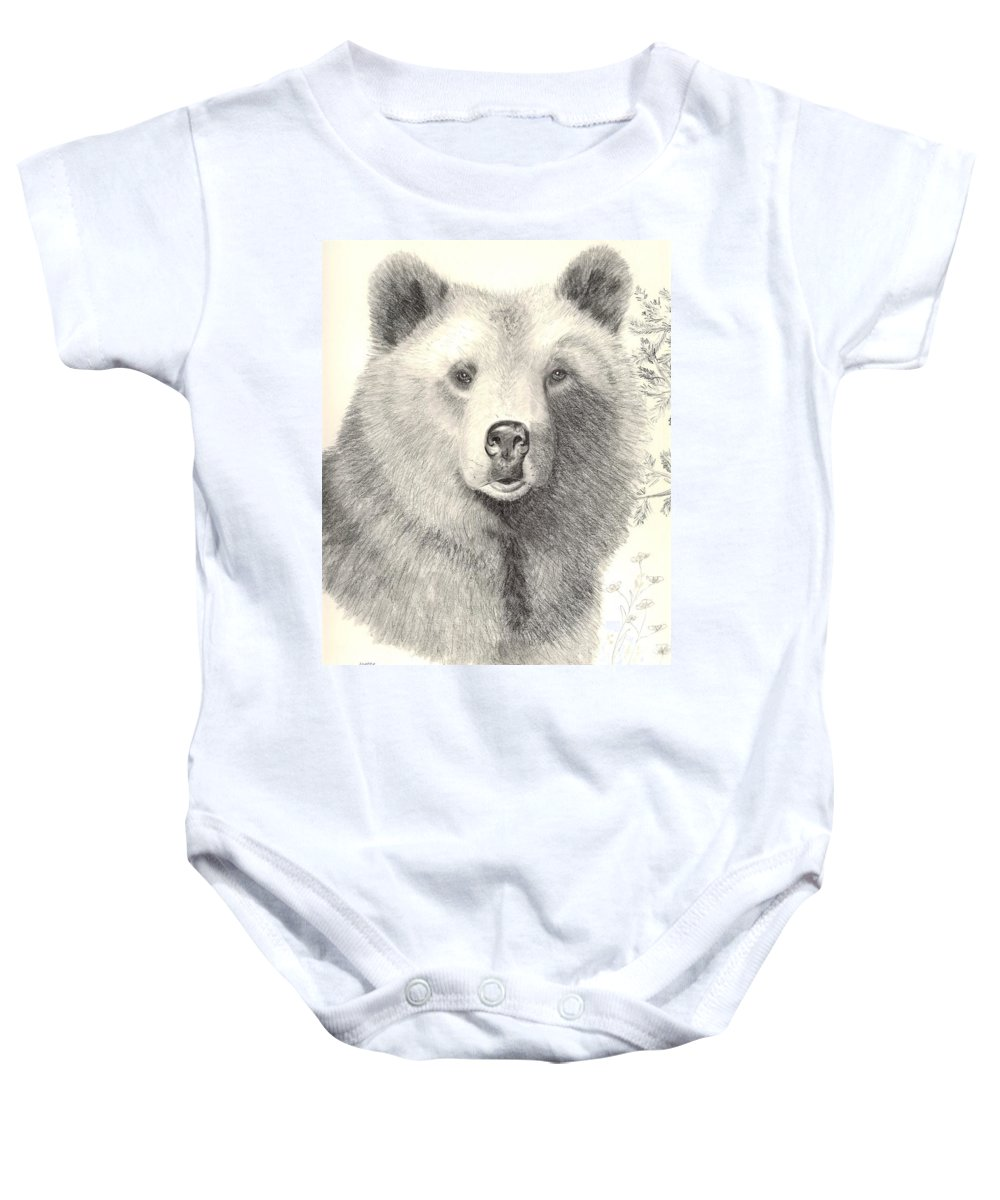Grizzle Bear Baby Onesie featuring the drawing Forest Sentry by Joette Snyder