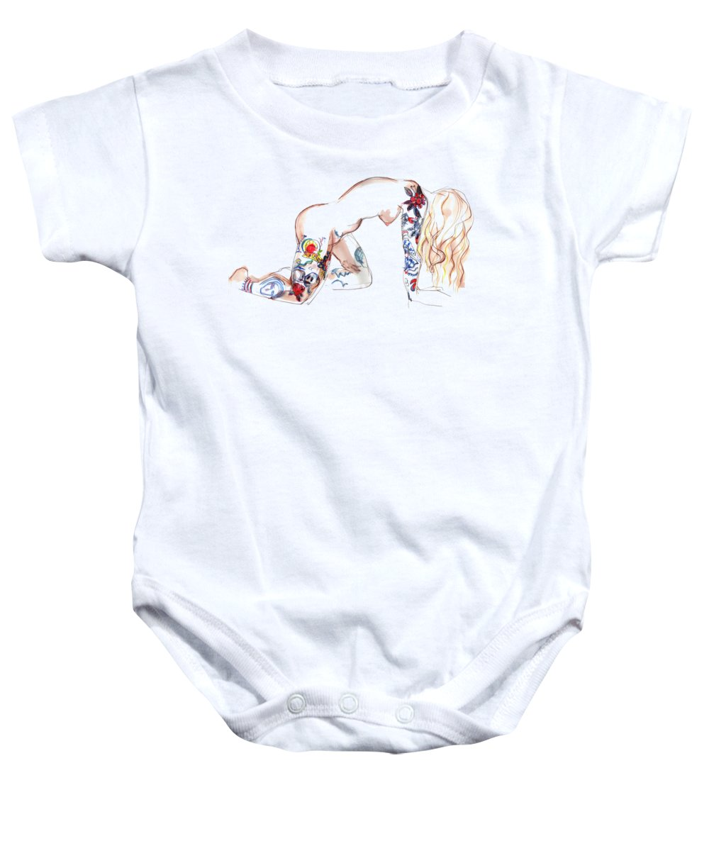 Erotic Art Baby Onesie featuring the mixed media Forever Amber - Tattoed Nude by Carolyn Weltman
