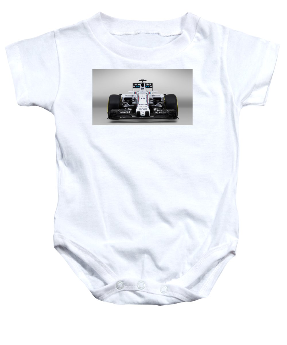 Baby Onesie featuring the digital art Formula 1 Williams Fw37 by Alice Kent