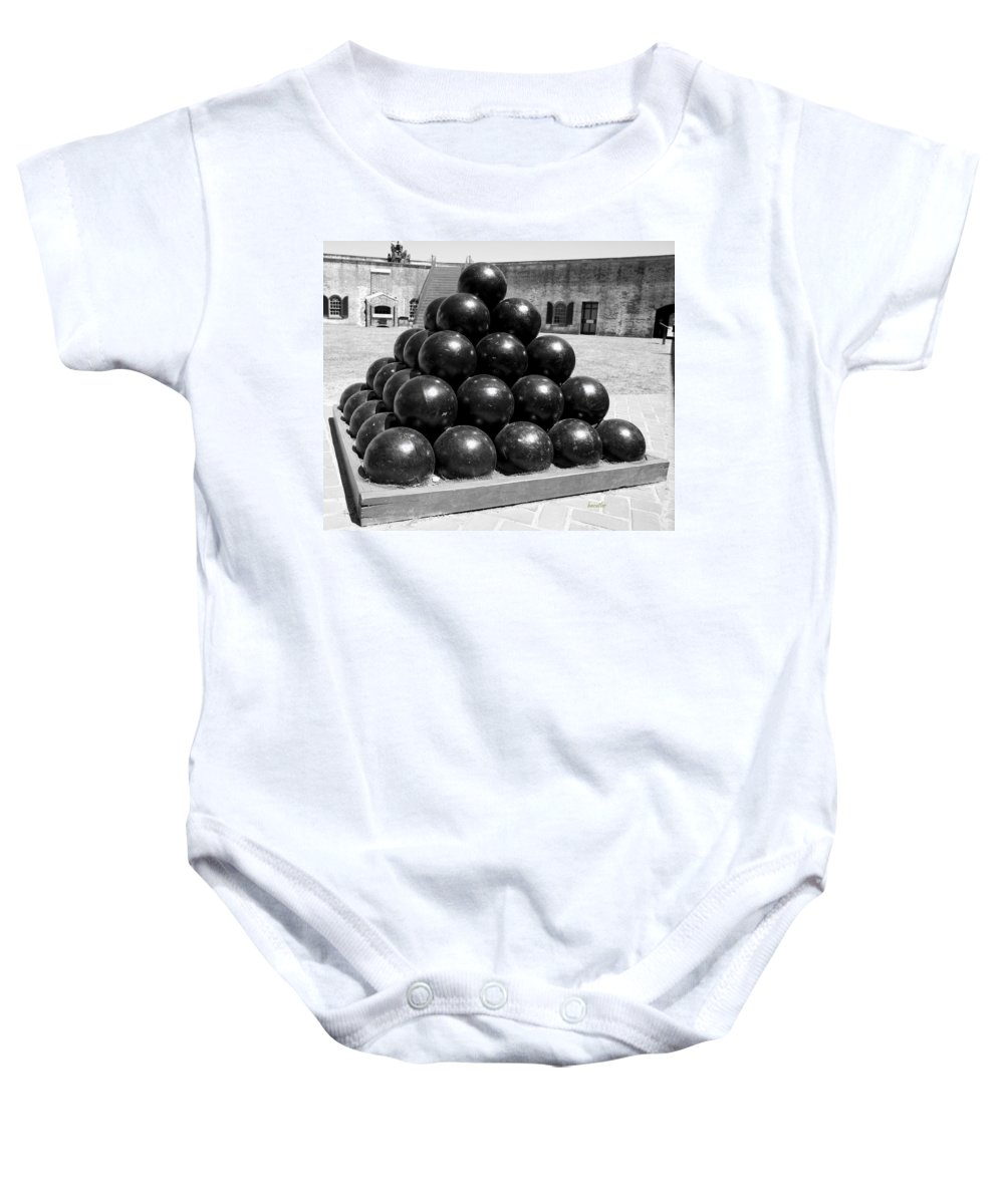 Harkers Island Baby Onesie featuring the photograph Fort Macon Cannonball by Betsy Knapp