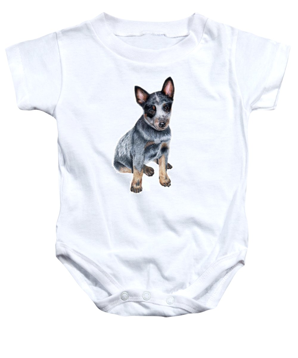 Dog Baby Onesie featuring the drawing Foster by Kristen Wesch
