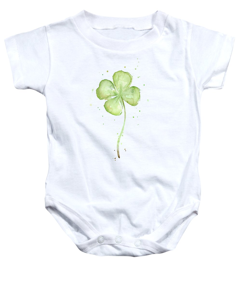St Patricks Baby Onesie featuring the painting Four Leaf Clover Lucky Charm by Olga Shvartsur