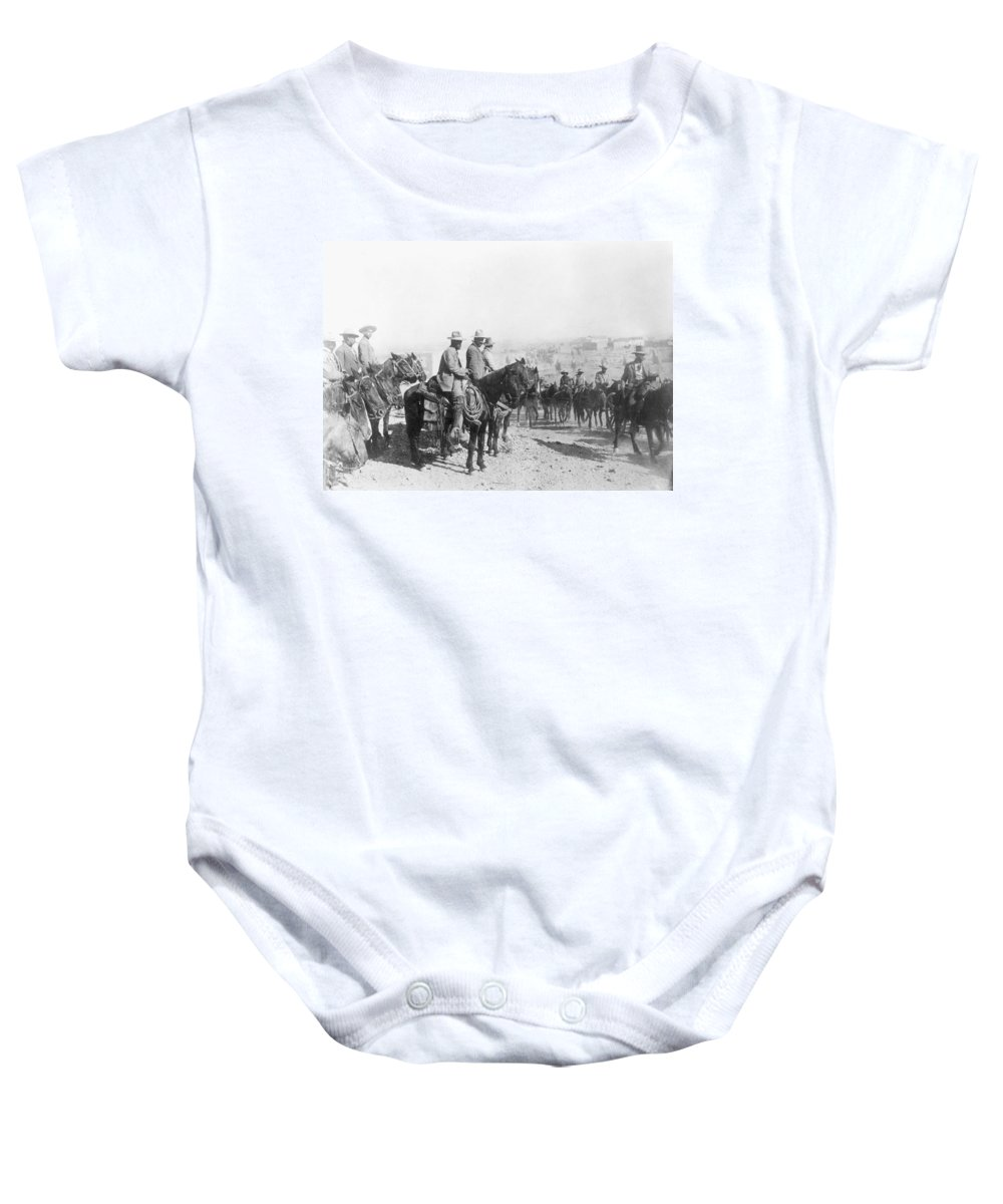 1914 Baby Onesie featuring the photograph Francisco Pancho Villa (1878-1923). Mexican Revolutionary Leader. Photographed While Reviewing Troops, C1914 by Granger