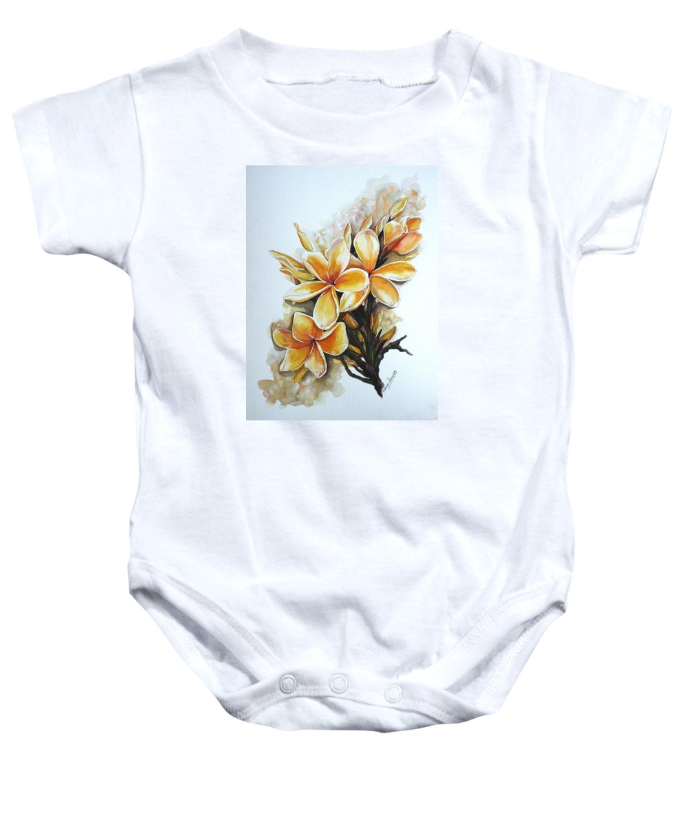 Caribbean Paintings Flower Paintings Floral Paintings  Baby Onesie featuring the painting Frangipangi  Sold by Karin Dawn Kelshall- Best