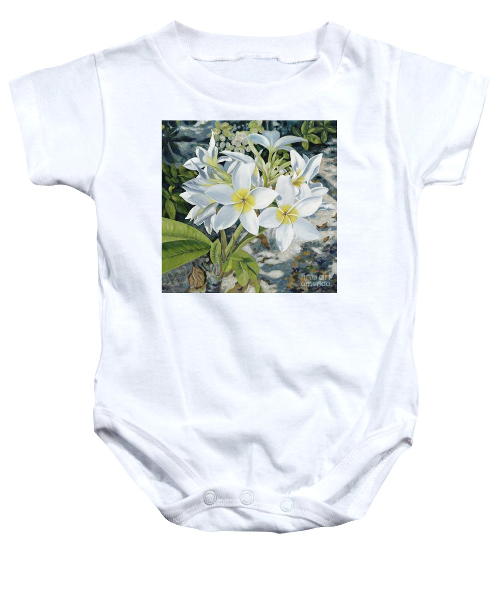 Frangipani Baby Onesie featuring the painting Frangipani by Danielle Perry