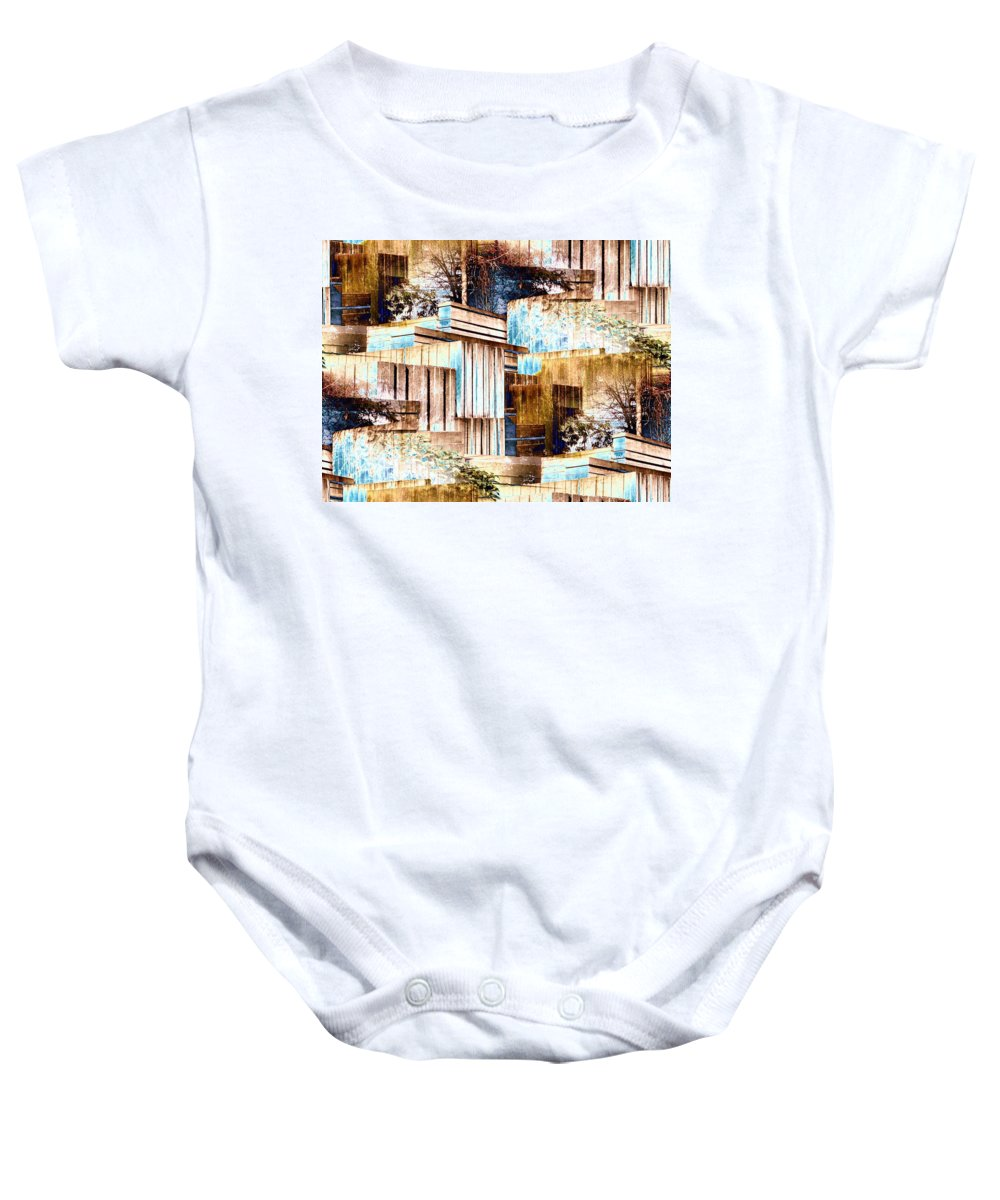 Seattle Baby Onesie featuring the digital art Freeway Park by Tim Allen