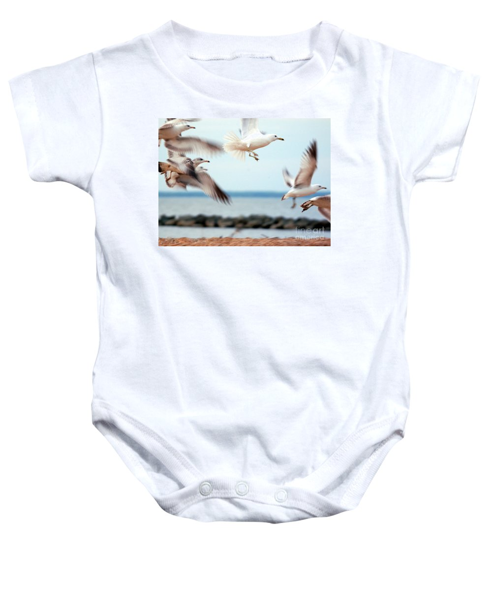 Clay Baby Onesie featuring the photograph Frenzy by Clayton Bruster