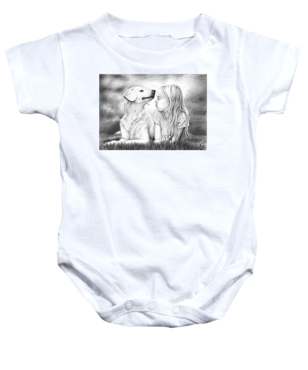 Dog Baby Onesie featuring the drawing Friends by Nicole Zeug