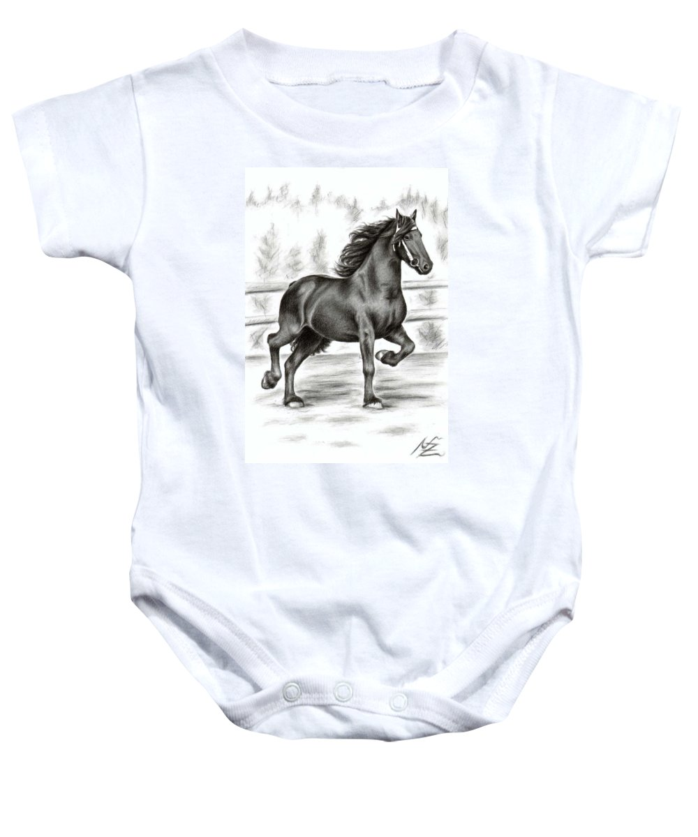 Horse Baby Onesie featuring the drawing Friesian Horse by Nicole Zeug