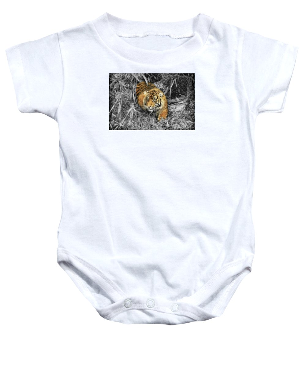 Tiger Baby Onesie featuring the photograph From The Darkness by Steve McKinzie