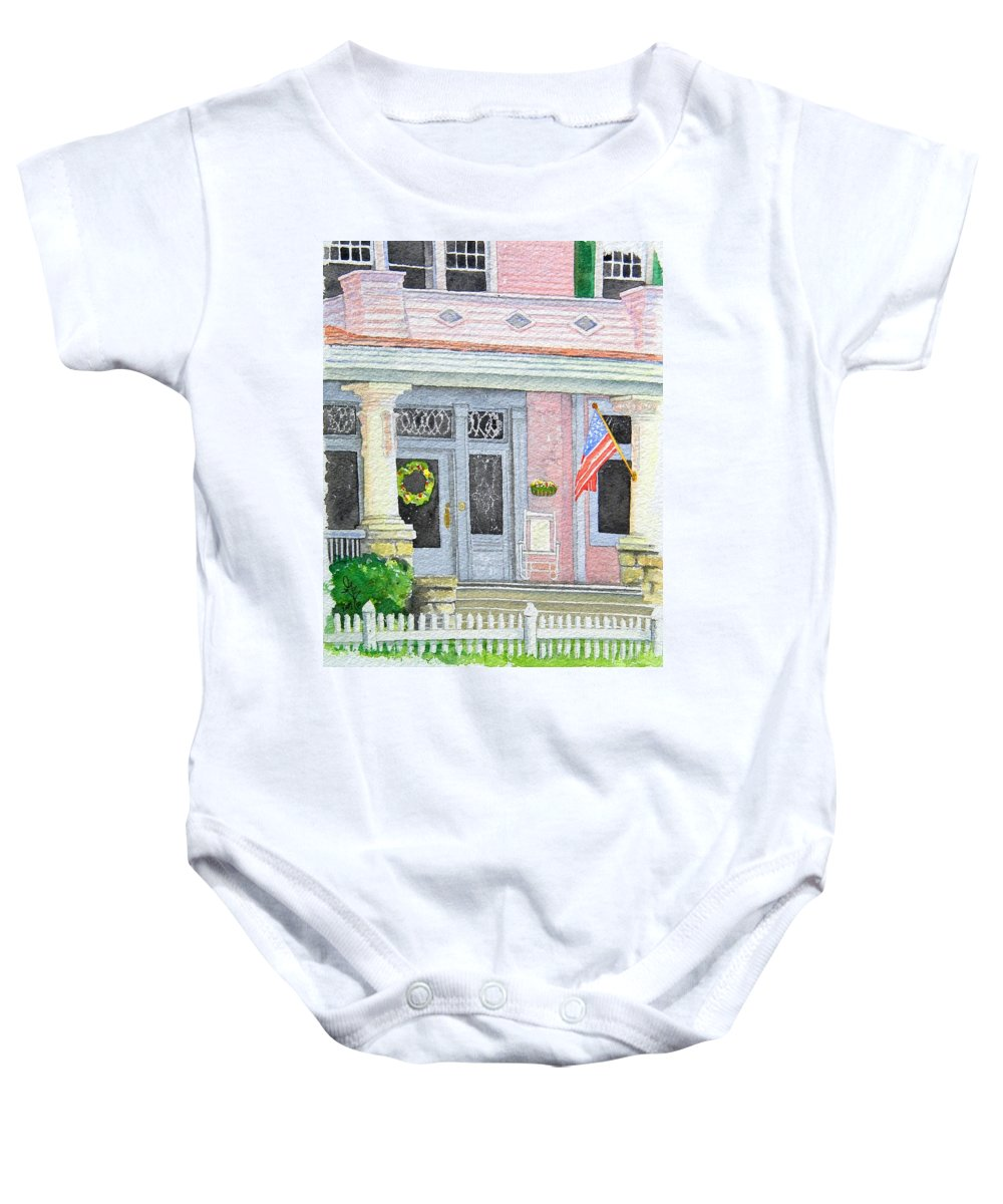 Front Porch Baby Onesie featuring the painting Front Porch by Gale Cochran-Smith