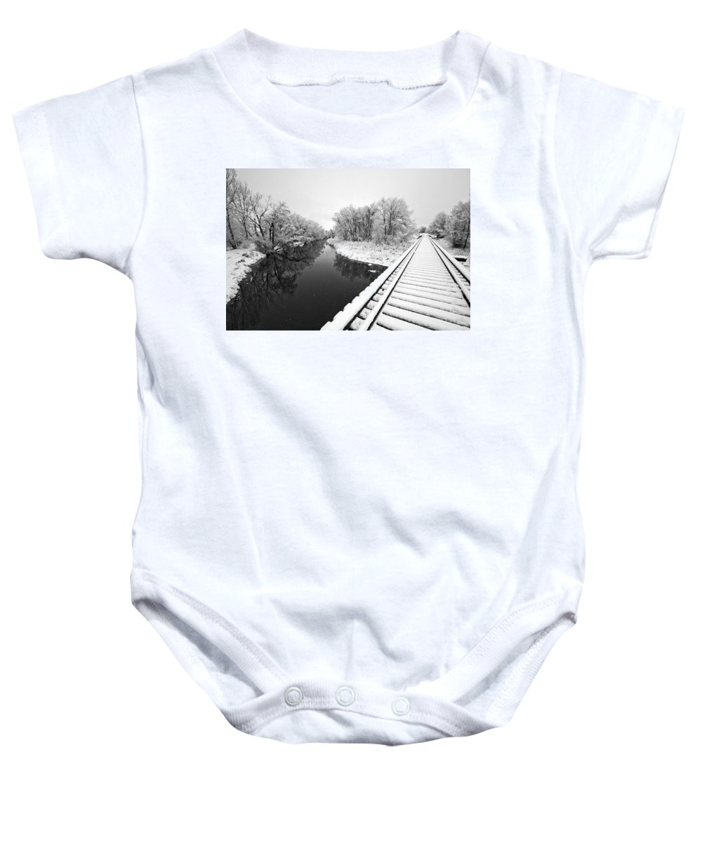 Fine Art Black And White Photography. Black And White Snow Photography.black And White Greeting Cards. Black And White Train Tracks Greeting Cards. Train Tracks In The Snow.black And White Infrared Photography. Black And White Photography. Baby Onesie featuring the photograph Frosty Morning On The Poudre by James Steele