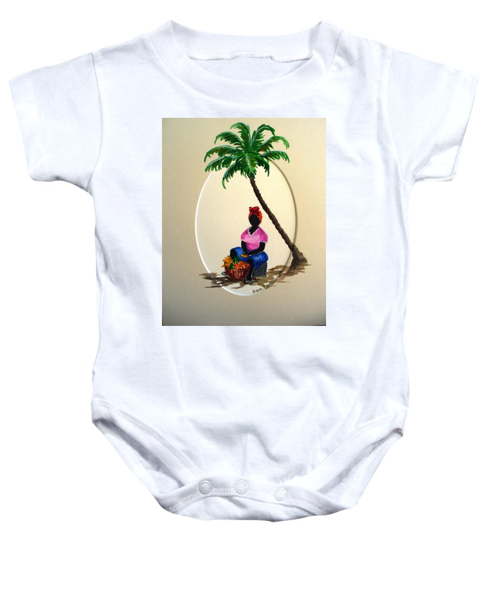 Baby Onesie featuring the painting Fruit seller by Karin Dawn Kelshall- Best