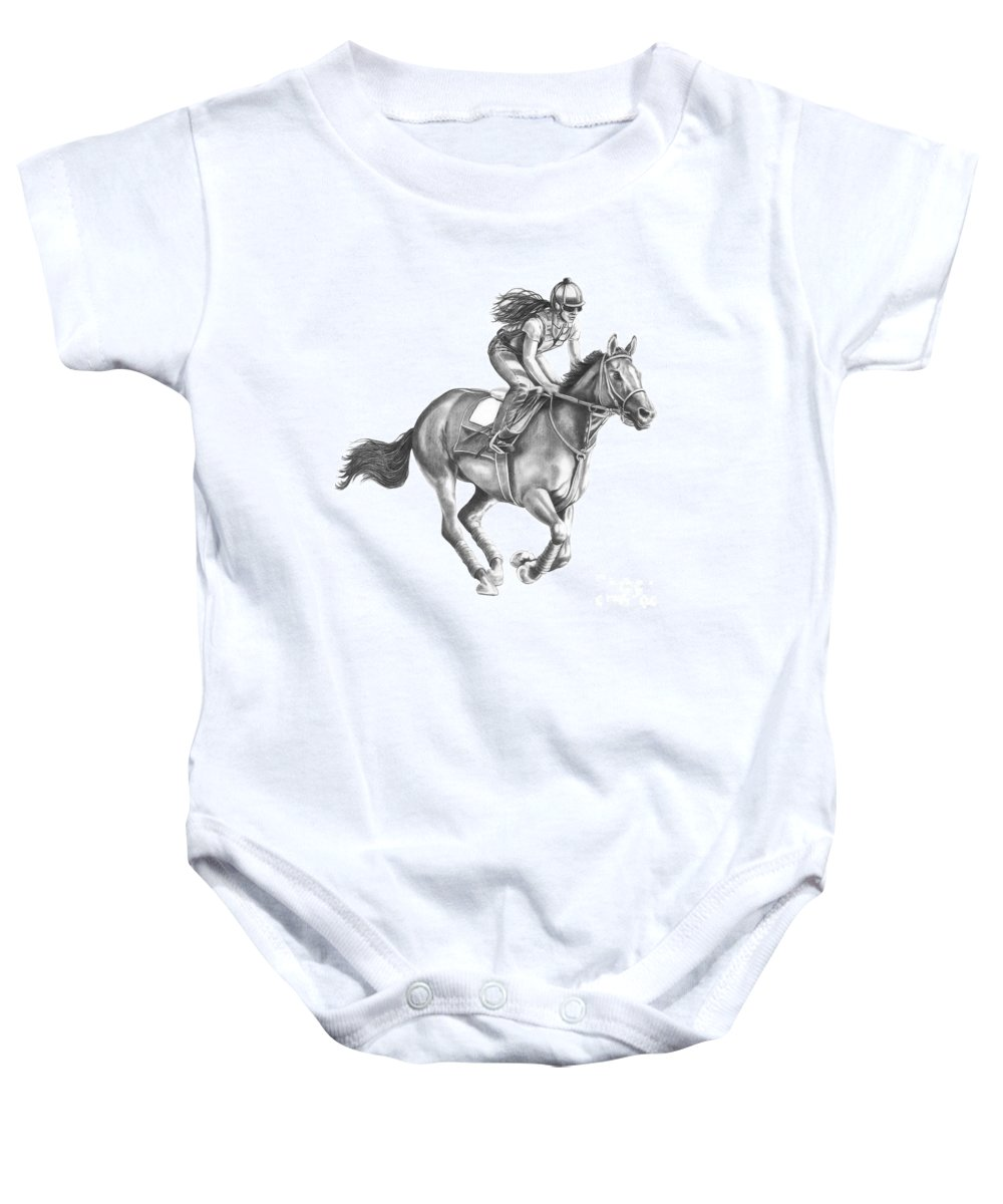 Horse Baby Onesie featuring the drawing Full Gallop by Murphy Elliott