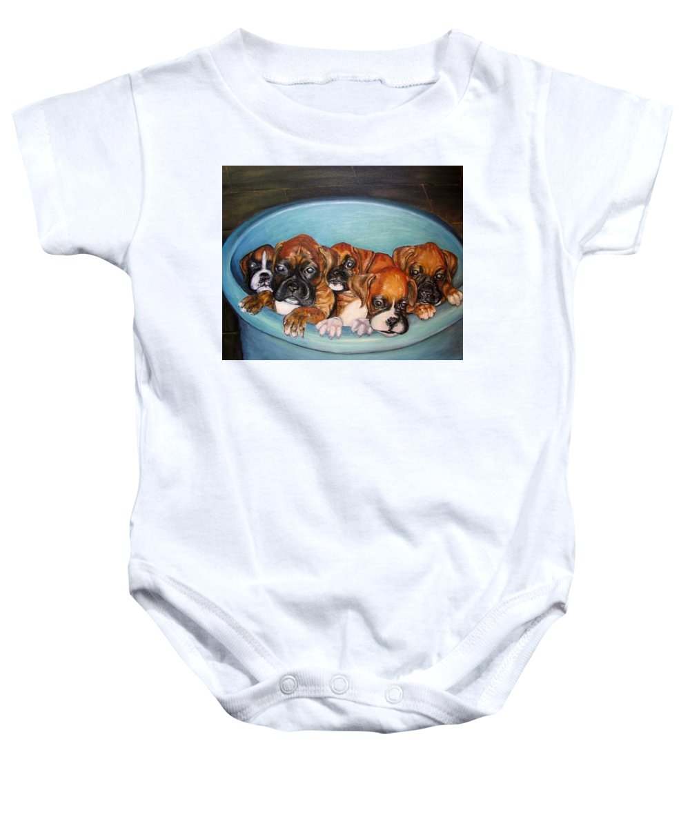 Oil Baby Onesie featuring the painting Funny Puppies Orginal Oil Painting by Natalja Picugina
