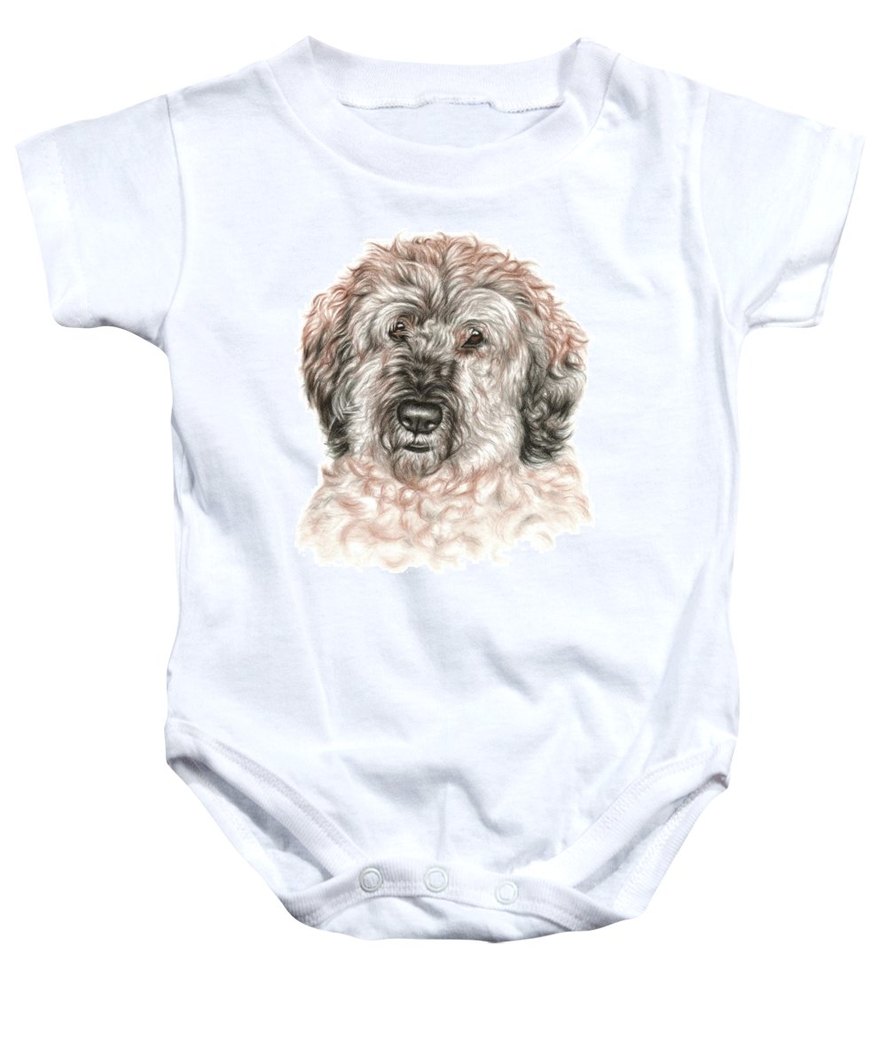 Dog Baby Onesie featuring the drawing Furry Friend by Nicole Zeug