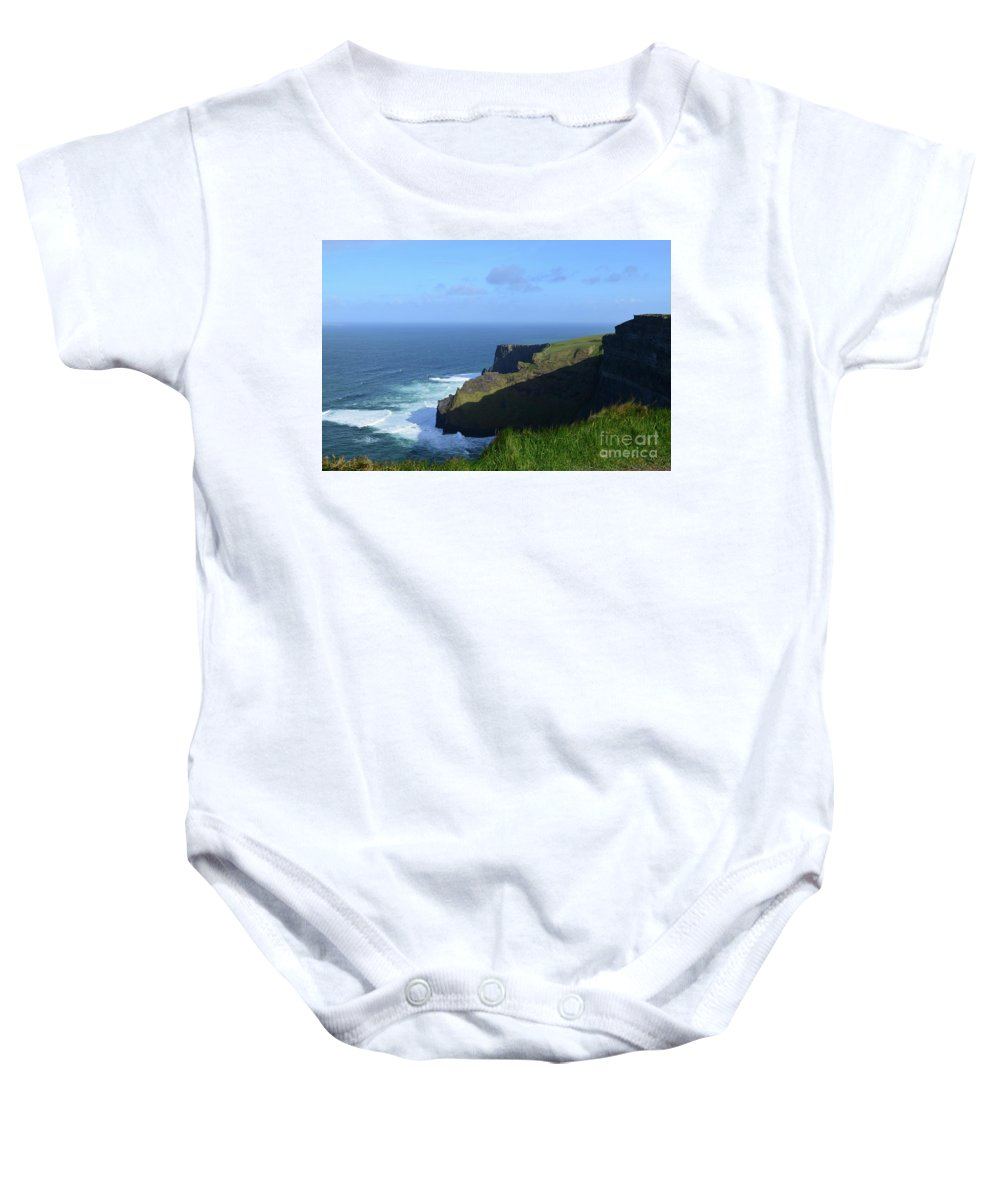 Cliffs-of-moher Baby Onesie featuring the photograph Galway Bay Churning Below The Cliffs Of Moher by DejaVu Designs