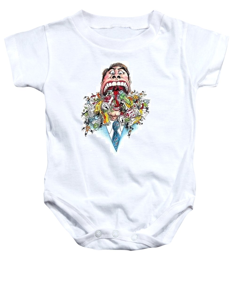Humor Get Even Baby Onesie featuring the drawing Garbage Mouth by Bruce Lennon